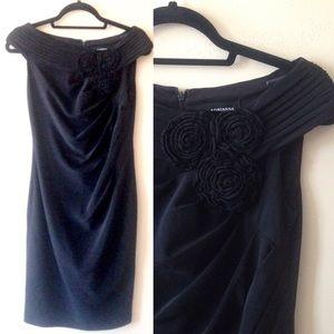Adrianna Papelle Ruched Rosette Off Shoulder Dress